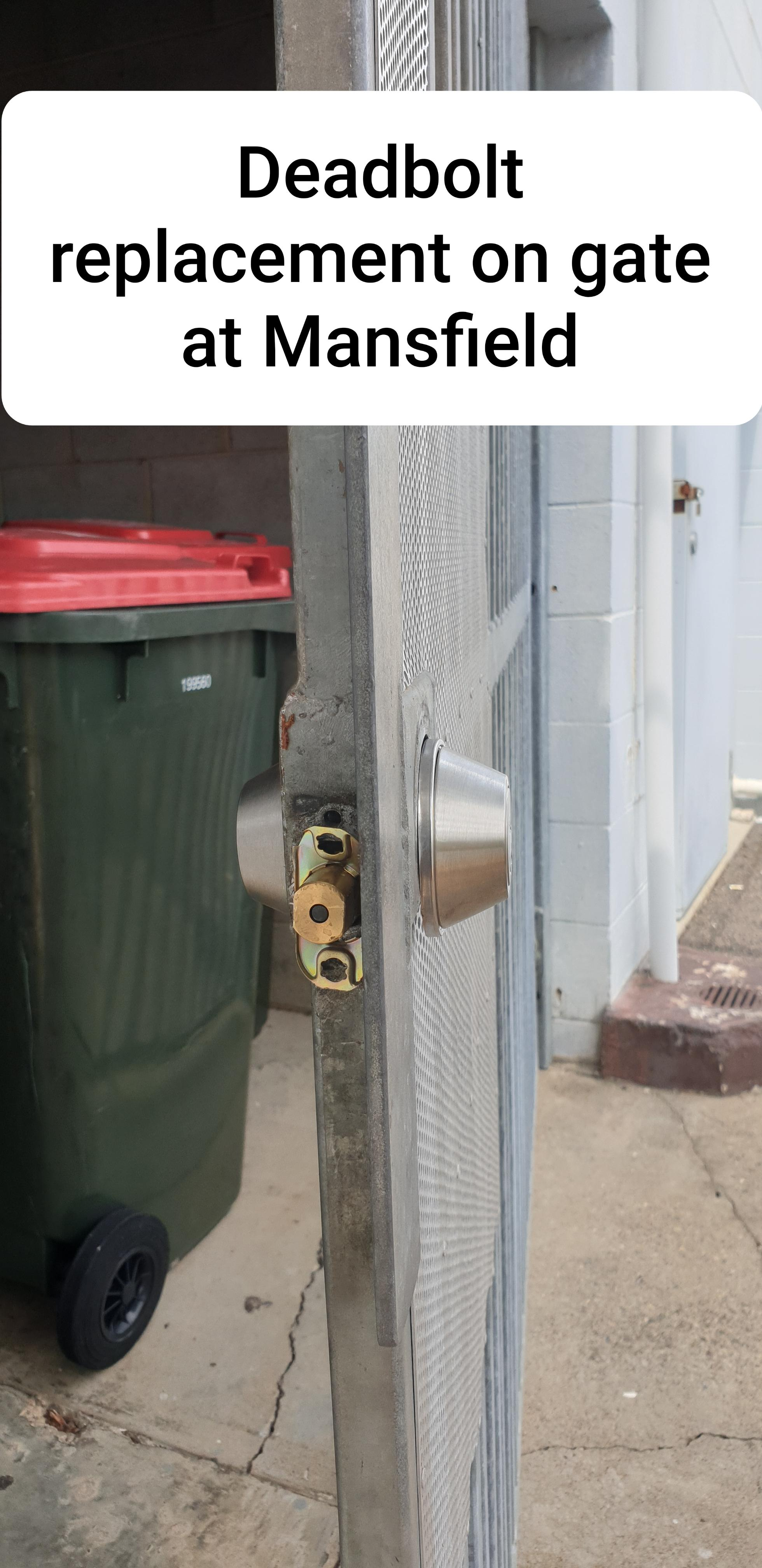 Old deadbolt on a gate that is to be replaced